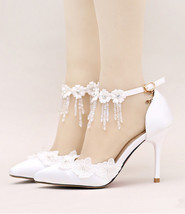 Women Ivory White Lace Wedding Heels,Girls Bridal Shoes US Size 6,7,8,9,10,11 - $99.99