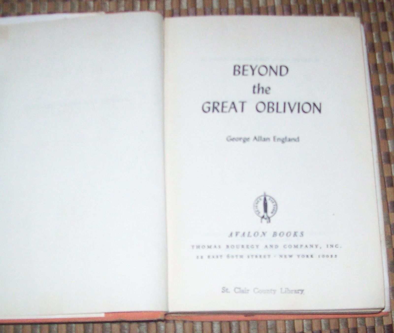 Beyond the Great Oblivion by George Allan England 1965 HBDJ