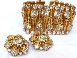 VTG Gold tone metal clear crystal Set wide chunky Bracelet & Clip Earrings - $118.80