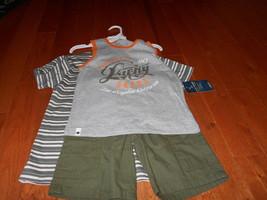 Lucky Brand Boys Gray orange Tank Top 3pc Short Set Size 6 cargo Pocket tee - $24.74