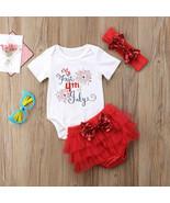 NWT Baby Girls 1st 4th of July Bodysuit Ruffle Tutu Bloomers Headband Ou... - $10.99
