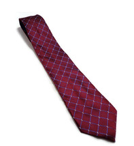 """Tommy Hilfiger MAROON AND BLUE MENS SILK NECK TIE 58"""" LONG 3.75"""" WIDE - $12.46"""