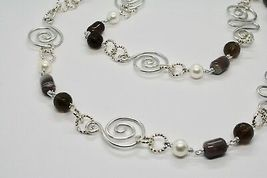 NECKLACE THE ALUMINIUM LONG 88 CM WITH CHALCEDONY QUARTZ WHITE PEARLS image 7