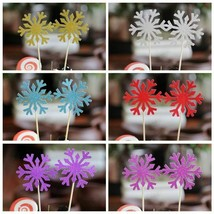 Cute SnowFlake Cupcake Topper Cake Flags For Wedding Birthday Party Bab... - $15.00