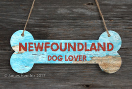 Newfoundland  Aluminum Dog Bone Sign - $9.89