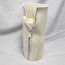 Vintage Fitz and Floyd Tall Vase Zipper Peeking Figure 1975 Ceramic Peek... - $9.94