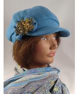 Chic Newsboy Style Women's Teal Cap Hat with Bronze Cherub Embellishment - $24.95