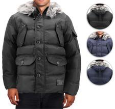 Men's Heavy Weight Warm Winter Coat Puffer Faux Fur Trim Sherpa Lined Jacket