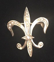 Antique Gold Plated & Seed Pearl Fleur de Lis Watch Pin - Exquisite - $107.39