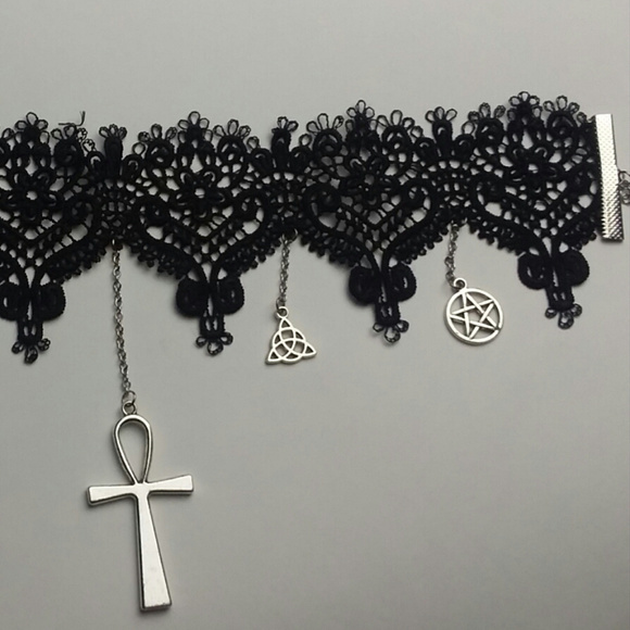 Black Lace Choker with Hanging Charms