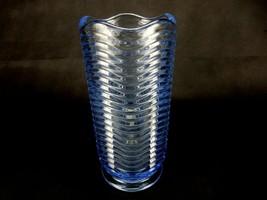 Vintage Vase Duncan & Miller Glass Co. Caribbean Blue w/ Wavy Ripples al... - $58.75