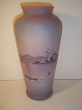 Fenton Glass Blue Burmese Satin Lighthouse Vase #3/30 Customer Appr 2012 Ltd Ed! - $480.15