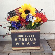 AGD Patriotic Decor - God Bless America Prim Sunflower Centerpiece - $39.95