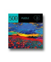 """Red Poppy Field Jigsaw Puzzle 500 pc 28"""" x 20"""" Durable Fit Pieces Leisure Scenic"""