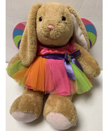 Build a Bear Brown Bunny Rabbit Plush w/ Lollipop Wing Dress Rainbow Tut... - $29.99