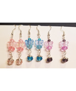 3 pr butterfly bead drop earrings lot dangles wholesale handmade jewelry  - $6.99