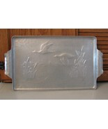 Vintage Hammered Aluminum Serving TRAY Canadian Geese Cattails - $8.87