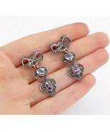 925 Silver - Vintage Amethyst Blue Topaz & Marcasite Dangle Earrings - E... - $33.20