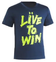 Under Armour Boys LIVE TO WIN Academy Blue Graphic T Shirt 27G54012 New ... - $15.83