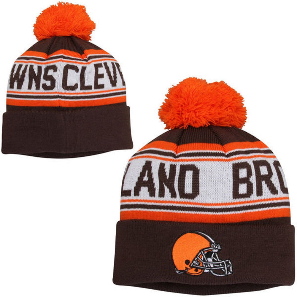 Boy's 8-20 Cleveland Browns Hat NFL Cuffed Knit Beanie with Pom One Size
