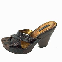 "NINE WEST ""Delton"" Brown Embossed Leather Wooden Heel Sandals Size 7 Med - $15.83"