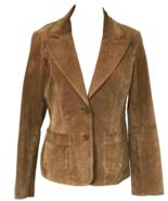 70s Granola Brown Camel Suede Leather Single Breast Vtg Ladies Blazer Ja... - $41.00