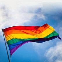 Rainbow Flag 90 x 155 cm Gay Pride Lesbian 3 x 5 FT LGBT Flag with 2 Gro... - $5.93