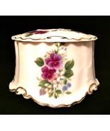 Porcelain Trinket Powder Box Floral Violets Gold Trim Vintage 3 inches Tall - $33.66