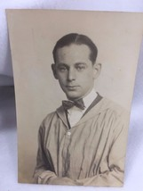 Vintage 1920's Photograph Young Man Lab Coat Bow Tie Studio 21348 Appren... - $9.94