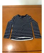 Girls Kids Gap GapKids Navy Striped Long Sleeve Crew Neck Shirt Large 10 - $8.90