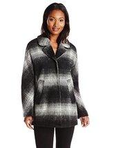 Sam Edelman Women's Erin Mohair Wool Plaid Coat, Black/Grey, X-Small