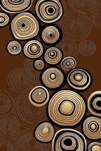 PREMIUM 3D Hand Carved Modern Contemporary Abstract 3x5 4x6 Rug 1388 Brown - $75.00