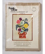 Family Circle Flower Jug Stamped Crewel Embroidery Kit Vintage Marketing... - $13.85