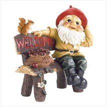 GARDEN GNOME GREETING SIGN Statue Outdoor Decor - $37.60