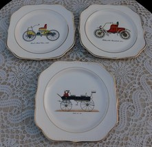 Vintage Homer Laughlin Eggshell Georgian Antique Car 3 Square Salad Plates - $38.00