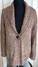 Christopher & Banks Brown Long Sleeve One Button Cardigan Sweater Women's M - $14.84
