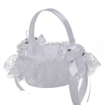 Flower Basket Portable Girl Scattering Wedding Lace Satin Candy Storage Box - $12.99