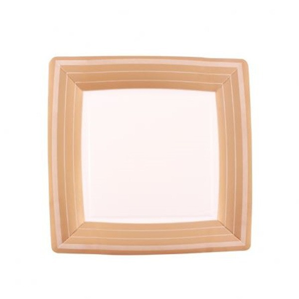 Gold Design 10.5 Inch Square Paper Plates/Case of 240