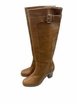 Via Spiga Caramel Brown Womens Tall Leather Boots Side Buckle Size 7.5 - $45.99
