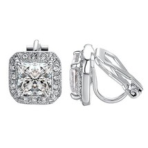 Yoursfs Clear CZ Halo Princess Cut Solitaire Stud Clip On Earrings… - $20.43