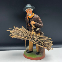 PAUL FOUQUE SANTONNIER santon provence figurine statue old man pipe sign... - $67.32