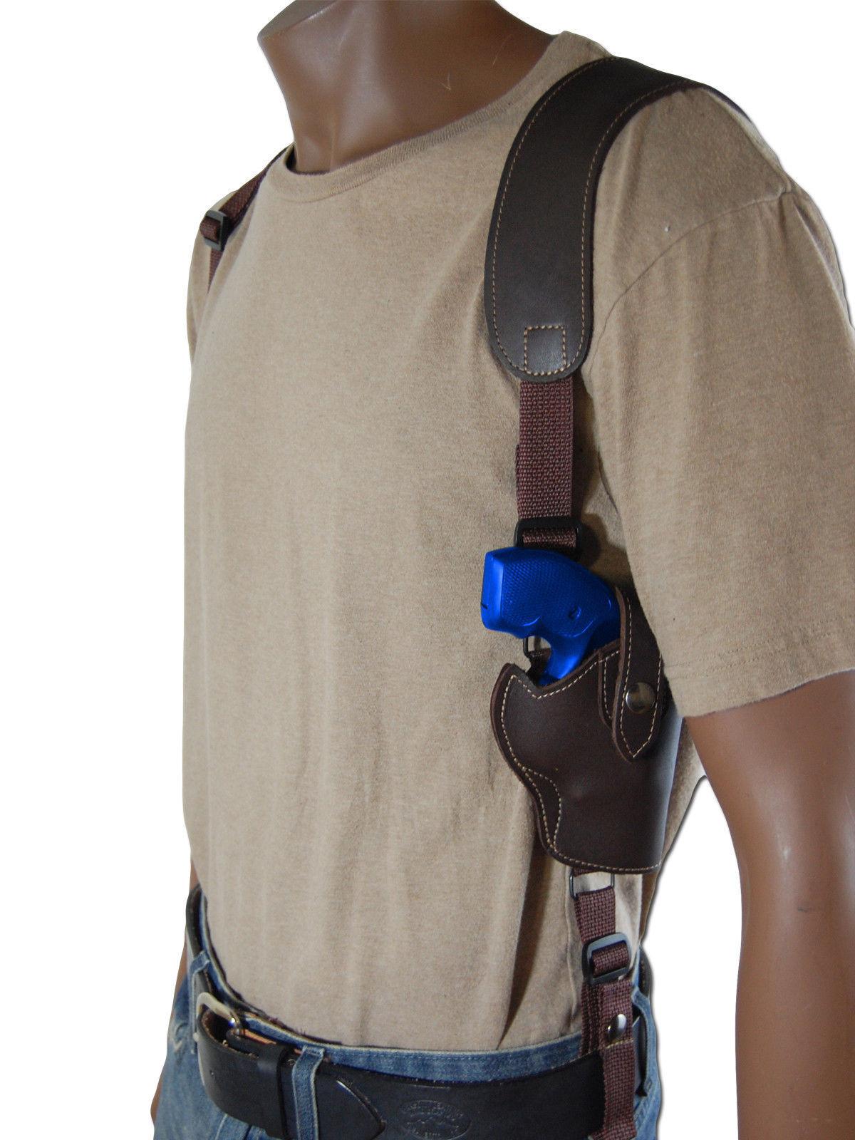"NEW Barsony Brown Leather Vertical Gun Shoulder Holster for S&W 2"" Snub Nose Rev"