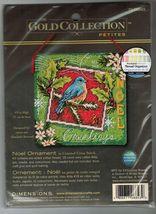 Dimensions Gold Cross Stitch Petites Noel Xmas Ornament Bird Postage Stamp Kit - $11.99