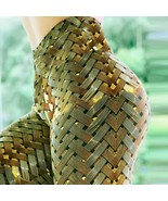 Gold Woven High Waisted Workout Leggings for Women Butt Lift Sport with ... - $18.49+