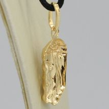 18K YELLOW GOLD JESUS FACE PENDANT CHARM 25 MM, 1 INCH, FINELY WORKED ITALY MADE image 4