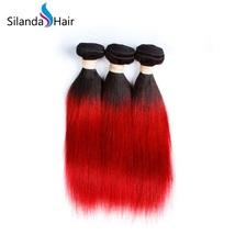 Silanda Hair 3 Bundles #1B/Red Straight  Remy Human Hair Extensions Weft - $132.90+