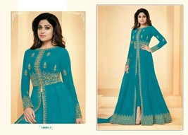 Designer Blue Hit Abaya Split Cut Ankle Long Pant Suit Indian Ethnic Dre... - $123.72