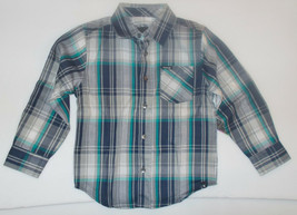 Hurley Boys Long Sleeve Plaid Shirt Gray Black Blue Sizes 4,  NWT - $11.89