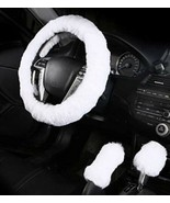 White 3Pcs Car Steering Wheel Cover Furry Fluffy Universal Fur Thick - $19.79