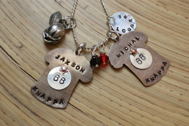 Sports Mom Custom Necklace with Crystals and Tag - Football - Lacrosse -... - $30.00